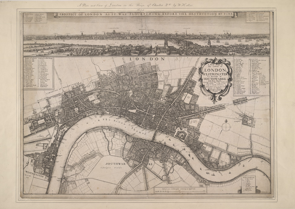A new map of the citties of London Westminster & ye borough of Southwarke, with their suburbs shewing ye streets, lanes, allies, courts etc. with othe [sic] remarks, as they are now, trully & carefully delineated
